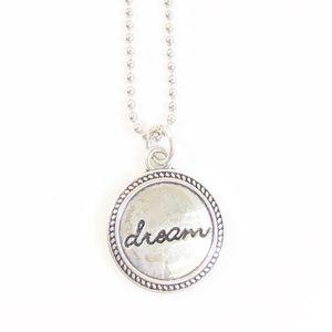 Dream Button Pendant Silver Necklace New